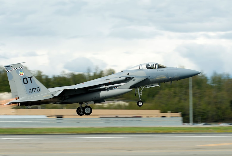 A U.S. Air Force F-15 Eagle from Eglin Air Force Base, Fla., takes off from the Joint Base Elmendorf-Richardson flightline May 3 as part of RED FLAG-Alaska 16-1. RF-Alaska is a Pacific Air Forces commander-directed field training exercise for U.S. and international forces, which provides joint offensive counter-air, interdiction, close air support, and large-force employment training in a simulated combat environment. (U.S. Air Force photo by Airman 1st Class Kyle Johnson)