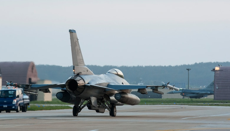 An F-16 Fighting Falcon from the 35th Fighter Squadron taxis on the runway during Beverly Midnight  16-3 at Kunsan Air Base, Republic of Korea, May 4, 2016.  The exercise tested Airmen on their ability to survive and operate while under the stress of simulated wartime activities all while ensuring aircraft generate. (U.S. Air Force photo by Staff Sgt. Nick Wilson/Released)
