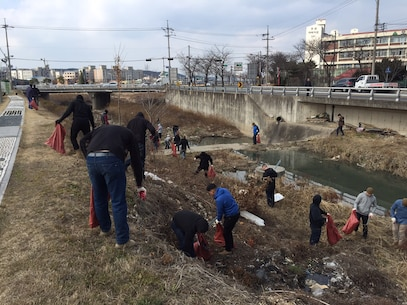 Marines from Combat Assault Battalion participated in a riverside clean-up of the Ocheon-eup City District February 16, 2016, in Pohang, South Korea. Approximately one ton of garbage was collected helping the community of approximately 54,000 residents. The Marines are from Combat Assault Battalion, 3rd Marine Division, III Marine Expeditionary Force, forward deployed in the Pacific.