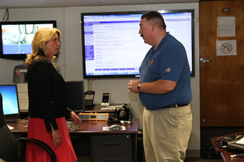 While visiting the Civil Air Patrol National Operations Center, Secretary of the Air Force Deborah Lee James was briefed by John Desmarais, CAP's director of operations. Since 2002, the NOC has coordinated mission approval for CAP operations in support of federal, state and local authorities across the U.S. The NOC coordinates approval for thousands of missions annually with 1st Air Force, 11th Air Force and PACAF.