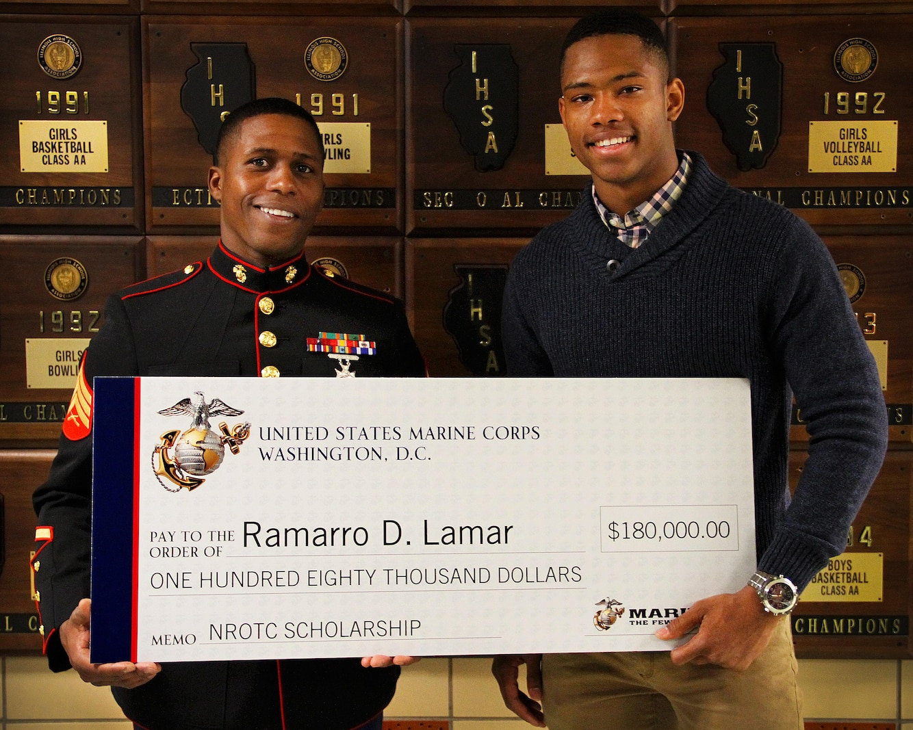"""Ramarro D. Lamar, a student of Downers Grove South High School, earned the $180,000 NROTC Scholarship Award, May 3.  Lamar's teachers, peers, along with members of the community spoke highly of his remarkable character, incredible determination, and his genuine kindness. A few of his teachers even said """"we wouldn't be surprised if we are voting him for president one day.""""  """"Lamar embodies the core values we desire of our next generation of Marine Officers,"""" said Sgt. Ramon Harris, Lamar's recruiter. """"He definitely has what it takes."""""""