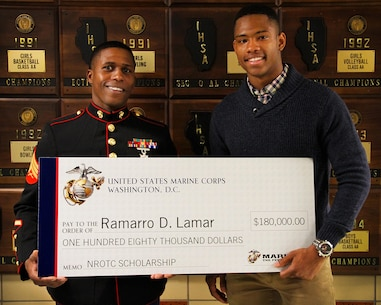 Ramarro D. Lamar, a student of Downers Grove South High School, earned the $180,000 NROTC Scholarship Award, May 3.