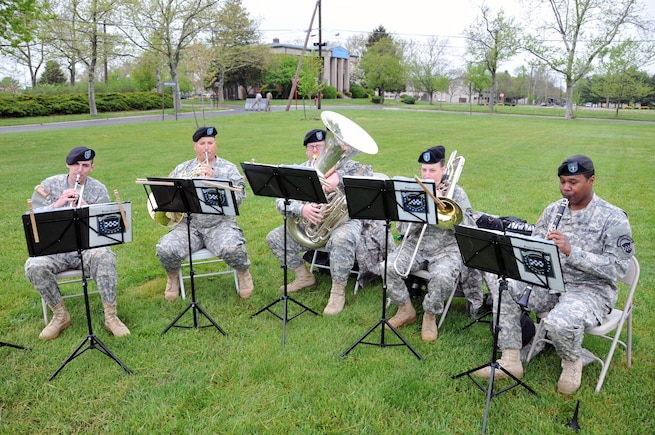 Members of the U.S. Army Reserve's 78th Army Band provide music during a change of command ceremony for the U.S. Army Reserve's 174th Infantry Brigade May 4 at Joint Base McGuire-Dix-Lakehurst, New Jersey.