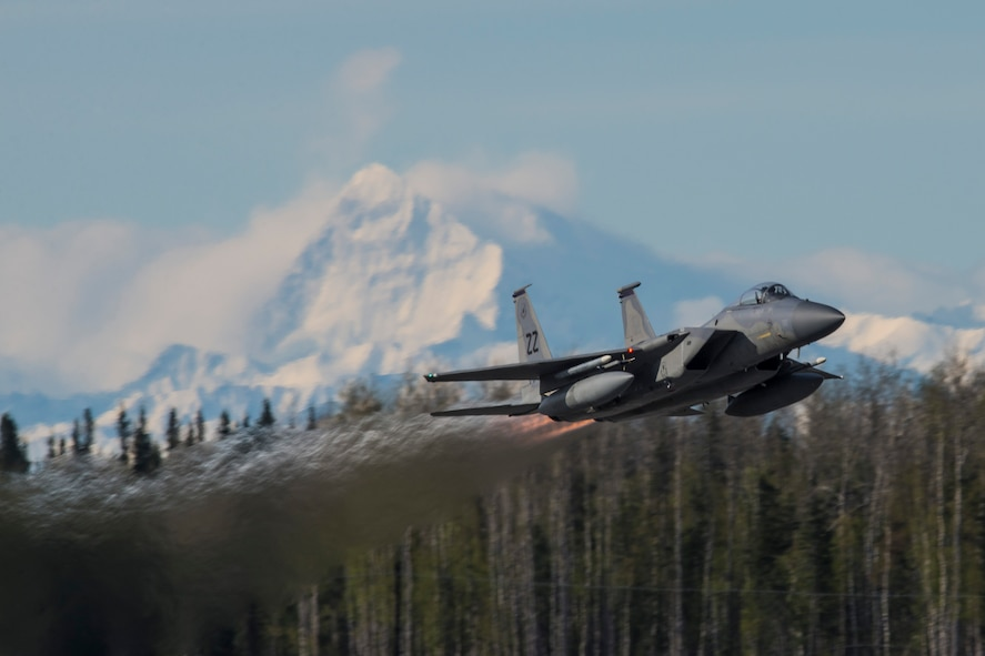 A U.S. Air Force F-15 Eagle tactical fighter jet assigned to the 67th Fighter Squadron, Kadena Air Base, Japan, takes off from Eielson Air Force Base, Alaska, May 4, 2016, during RED FLAG-Alaska (RF-A) 16-1. The F-15s are deplyed to Eielson for RF-A, a series of Pacific Air Forces commander-directed field training exercises for U.S. and partner nation forces, providing combined offensive counter-air, interdiction, close air support and large force employment training in a simulated combat environment. (U.S. Air Force photo by Staff Sgt. Joshua Turner/Released)