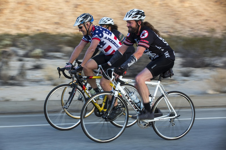 Cyclists complete a 50-mile ride during the Park-to-Park Bike Ride through Joshua Tree National Park, Calif., April 30, 2016. The event was hosted as a joint effort between the Combat Center, the City of Twentynine Palms and the Joshua Tree National Park Service to celebrate Earth Day as well as the 100-year anniversary of the park. (Official Marine Corps photo by Lance Cpl. Levi Schultz/Released)