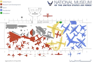Artist rendering of the aircraft layout in the fourth building at the National Museum of the U.S. Air Force. The building will house the Research & Development, Space, Presidential and Global Reach Galleries. (Updated April 2016. Subject to change.)