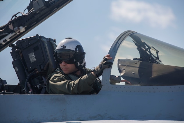 A pilot prepares to take off from the flightline aboard Marine Corps Air Station Beaufort May 4. Marine Fighter Attack Squadron 251 is participating in a Weapons Systems Evaluation Program at Tyndall Air Force Base, Fla., May 6-20. The program gives pilots experience with flying against real aircraft outside a simulation. The real world training helps Marines be tactically proficient and prepared to deploy. The pilot is with VMFA-251.