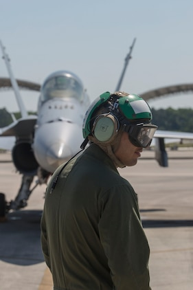 A maintaner stands in front of an F/A-18C Hornet on the flightline aboard Marine Corps Air Station Beaufort May 4. Marine Fighter Attack Squadron 251 is participating in a Weapons Systems Evaluation Program at Tyndall Air Force Base, Fla., May 6-20. The program gives pilots experience with flying against real aircraft outside a simulation. The real world training helps Marines be tactically proficient and prepared to deploy. The pilot is with VMFA-251.
