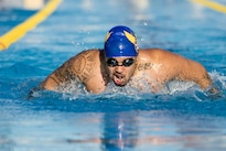 Team U.S.A. athlete Christian Perryman warms up for practice swimming heats for the 2016 Invictus Games in Orlando, Fla., May 5, 2016. The United States is among 15 countries competing in the 2016 Invictus Games. U.S. Air Force photo by Senior Master Sgt. Kevin Wallace