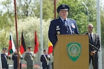 Retiring Air Force Gen. Philip M. Breedlove speaks at the ceremony at NATO's Supreme Headquarters Allied Powers Europe in which he passed command as the alliance's supreme allied commander for Europe to Army Gen. Curtis M. Scaparrotti in Mons, Belgium, May 4, 2016. NATO photo by U.S. Navy Petty Officer 1st Class Danielle Brandt
