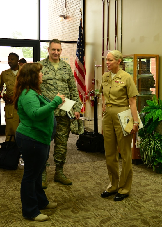 Rear Adm. Mary Jackson, Commander of Navy Region Southeast, visits Joint Base Charleston - Naval Weapons Station April 28, 2016. During the one-day tour, Jackson had the opportunity to visit various facilities that support the Joint  Base's mission. (U.S. Navy Photo by Mass Communication Specialist 1st Class Sean M. Stafford/Released)