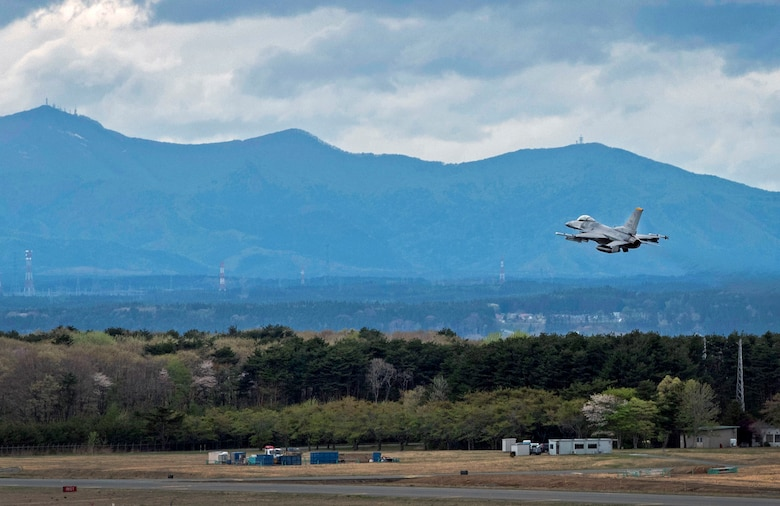 An F-16 Fighting Falcon takes off at Misawa Air Base, Japan, May 4, 2016. Misawa works alongside other bases throughout the Pacific Theater to provide agile combat support, while increasing the United States' partnership between international allies. The wing's capabilities are tested through training sorties ensuring pilots are prepared to fight tonight. (U.S. Air Force photo by Airman 1st Class Jordyn Fetter)