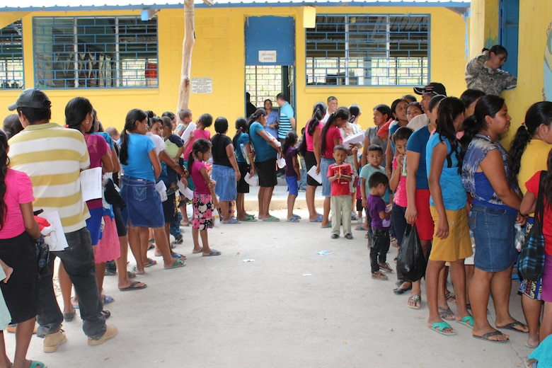 Residents of Jocotán wait outside the pharmacy area after a consultation with medical providers during a Joint Task Force-Bravo Medical Readiness Training Exercise in Jocotán, Chiquimula, Guatemala, April 29, 2016. More than 500 patients were treated in Guatemala, receiving basic health care, preventive medicine and orientation, dental services and medication free of cost.  (U.S. Army photo by Maria Pinel)