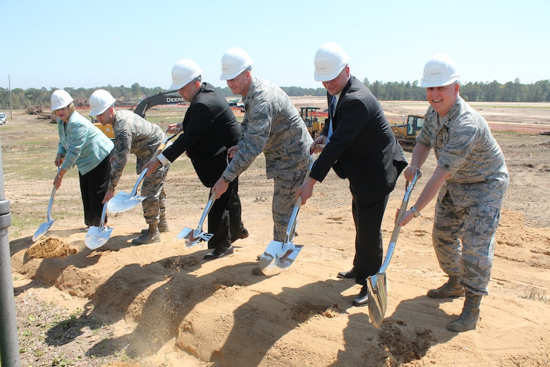 Leadership from Eglin Air Force Base, Florida, joined privatized housing project owner partner, Corvias Military Living, for a groundbreaking ceremony March 20, 2015. The event marked the start of construction of 747 new homes and a 12,000-square-foot state-of-the-art community center. (Photo Courtesy of Corvias Military Living)