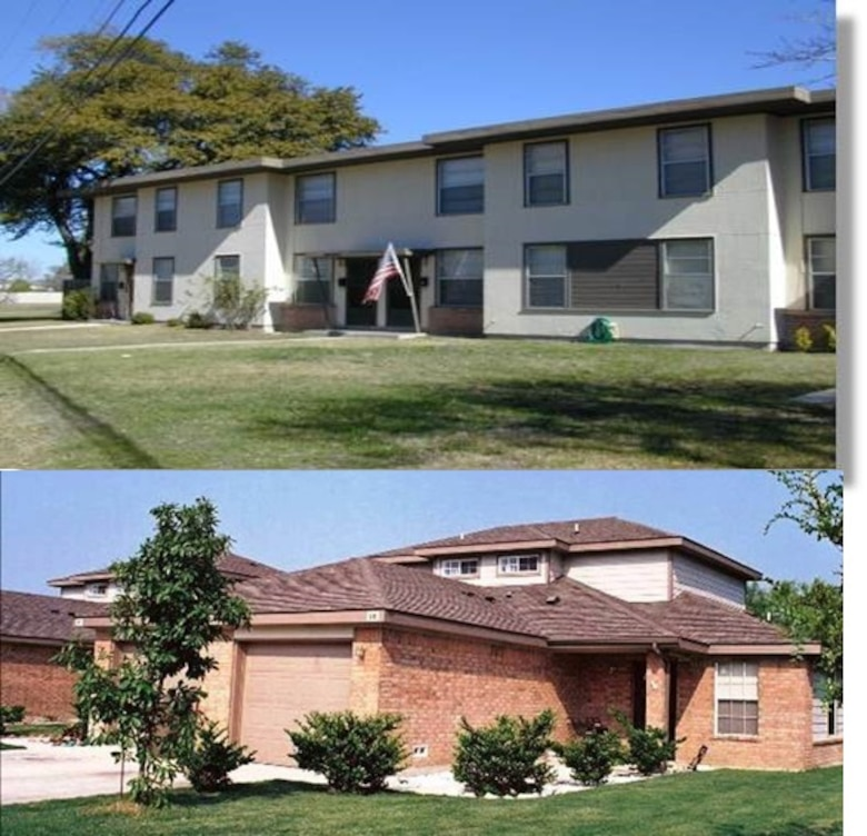 Before military housing privatization, approximately 60 percent of homes at Lackland Air Force Base, Texas, fell below established Air Force housing standards — some were even termite infested. Following the Military Housing Privatization Initiative of 1996, Lackland was selected as the Air Force's inaugural privatized project. The top photo shows a government-owned and operated home at Lackland prior to privatization. Below is a privatized home today at Lackland: constructed, owned and managed by Balfour Beatty Communities. (Courtesy photos)