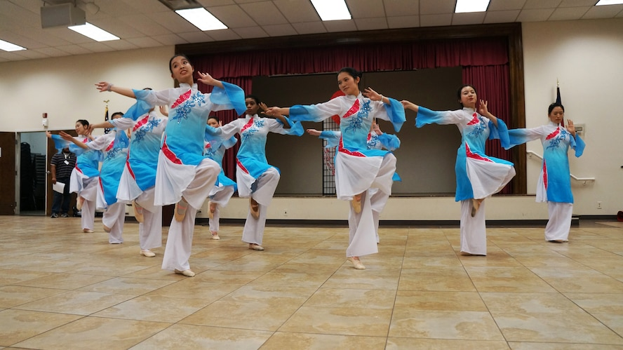 Dancers perform during the 2016 Asian Pacific Gala April 30. The event included traditional and modern fashion, martial arts demonstrations, food, music and more. (U.S. Air Force photo by Ed Aspera)
