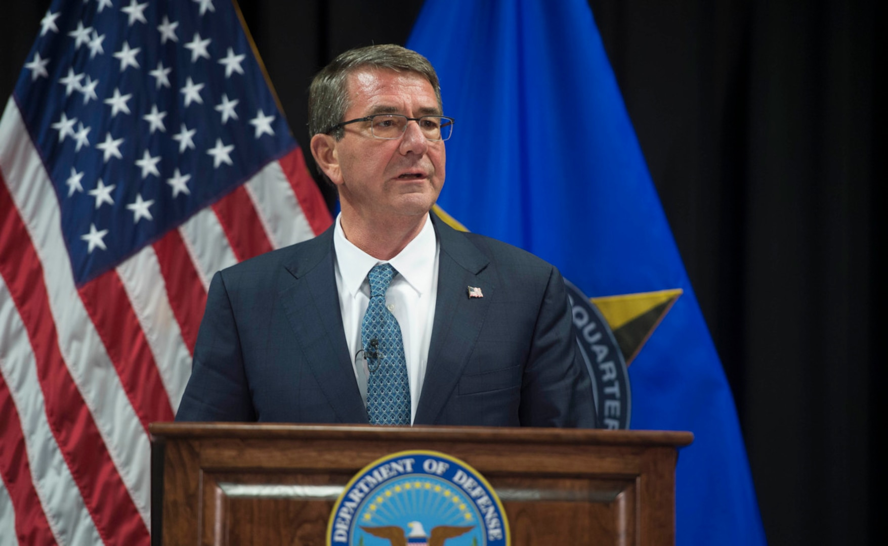 Secretary of Defense Ash Carter addresses the press after meeting with the defense ministers of countries that are making the most substantial contributions to the counter-ISIL fight at U.S. European Command Headquarters, May 4, 2016. (DoD photo by Navy Petty Officer 1st Class Tim D. Godbee)
