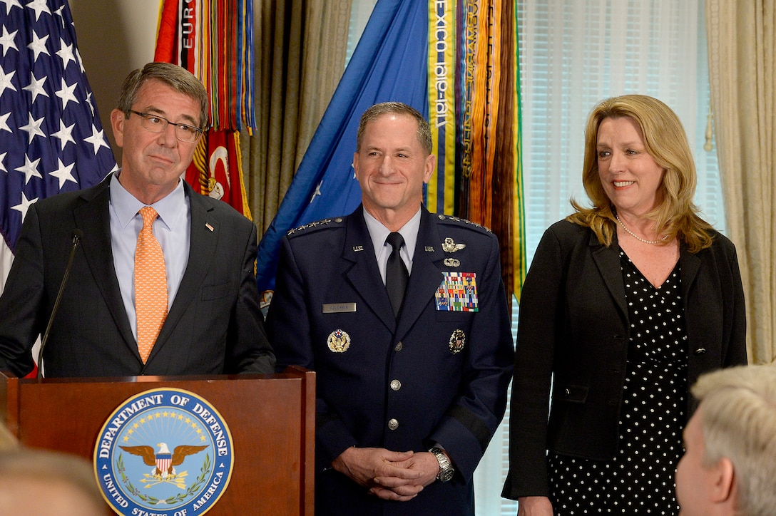 Secretary of Defense Ash Carter briefs the official announcement of Air Force Vice Chief of Staff Gen. David Goldfein, who was nominated to become the 21st Air Force chief of staff, in the Pentagon on April 29, 2016. With them is Secretary of the Air Force Deborah Lee James. (U.S. Air Force photo/Scott M. Ash)