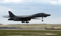 The 28th Bomb Wing's first B-1B Lancer upgraded with Sustainment Block-16 touches down at Ellsworth Air Force Base, S.D., May 2, 2016. With the upgraded B-1's return from Tinker AFB, Okla., Ellsworth Airmen will be able to put their training from the IBS-updated sim to the test. (U.S. Air Force photo/Airman Donald Knechtel)