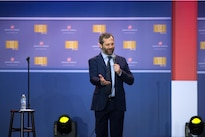 Comedian Judd Apatow performs during the comedy show celebrating the 75th anniversary of the USO and the 5th anniversary of the Joining Forces initiative at Joint Base Andrews near Washington, D.C., May 5, 2016. DoD photo by E.J. Hersom