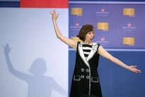 Comedian Kristen Schaal performs during the comedy show celebrating the 75th anniversary of the USO and the 5th anniversary of the Joining Forces initiative at Joint Base Andrews near Washington, D.C., May 5, 2016. DoD photo by E.J. Hersom