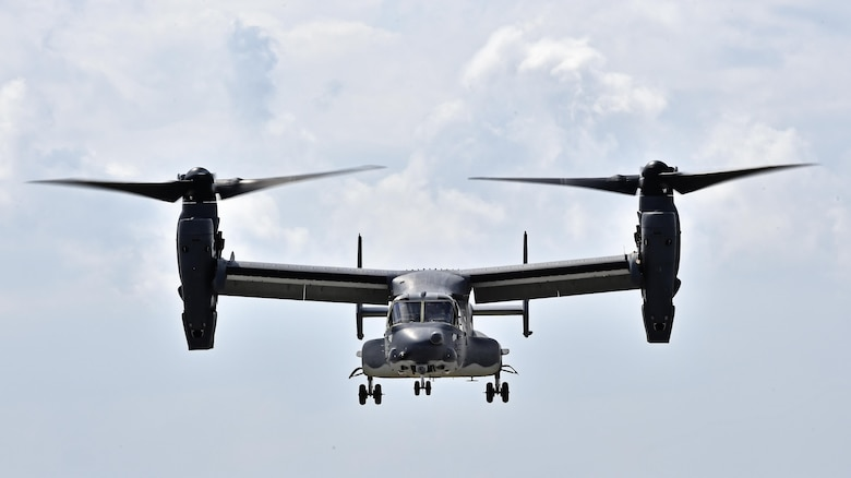 A CV-22 Osprey prepares to land during Emerald Warrior 16 on May 3, 2016, at Hurlburt Field, Fla. Emerald Warrior 16 is a U.S. Special Operation Command sponsored mission rehearsal exercise in which joint special operations forces train to respond to real and emerging worldwide threats. (U.S. Air Force photo/Senior Airman Logan Carlson)