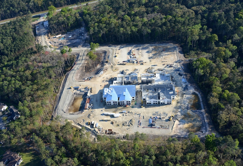 An aerial view of the new Diamond Elementary School currently under construction at Fort Stewart in Georgia March 21. Archer Western is the prime construction contractor for the project. The $40 million facility features an open layout with operable wall panels that slide open, promoting a collaborative educational environment. The two-story, 122,000 square foot facility also includes a kitchen and teachers area for each quad of classrooms, an outside amphitheater with a stage, gymnasium, three playgrounds and an interactive energy dashboard that tracks electricity-saving efforts.