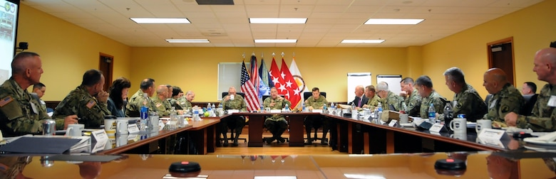 Gen. Robert B. Abrams, commanding general of U.S. Forces Command, center, addresses Army Reserve senior leaders during the FORSCOM Commander's Dialogue hosted May 4 by the Army Reserve's 99th Regional Support Command at Joint Base McGuire-Dix-Lakehurst, New Jersey. The purpose of the dialogue was to conduct informal and candid discussions with Army Reserve senior leaders on mission readiness challenges, including best practices. Joining Abrams for the Dialogue were Lt. Gen. Michael S. Tucker, First U.S. Army commanding general; Lt. Gen. Jeffrey W. Talley, chief of Army Reserve and U.S. Army Reserve Command commanding general; and leaders from the Army Reserve's 99th RSC, 75th Training Command and 1st Mission Support Command.
