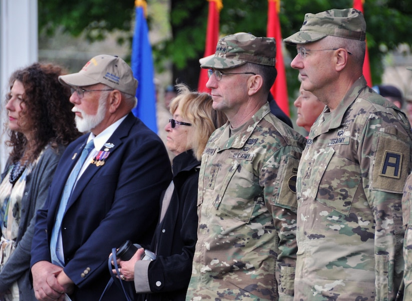 Gen. Robert B. Abrams, commanding general of U.S. Forces Command, second from right, and Lt. Gen. Michael S. Tucker, commanding general of First U.S. Army, right, attend a change-of-command ceremony for the Army Reserve's 174th Infantry Brigade prior to the FORSCOM Commander's Dialogue hosted May 4 by the Army Reserve's 99th Regional Support Command at Joint Base McGuire-Dix-Lakehurst, New Jersey. The purpose of the dialogue was to conduct informal and candid discussions with Army Reserve senior leaders on mission readiness challenges, including best practices. Joining Abrams for the Dialogue were Lt. Gen. Jeffrey W. Talley, chief of Army Reserve and U.S. Army Reserve Command commanding general, and leaders from the Army Reserve's 99th RSC, 75th Training Command and 1st Mission Support Command.