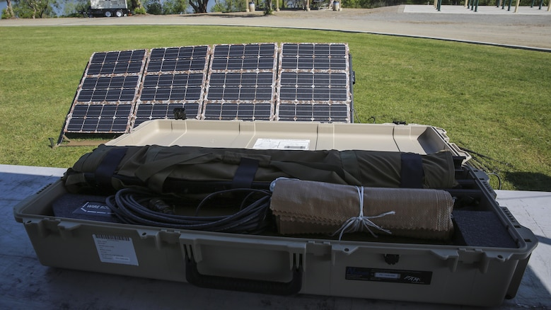 The second generation Ground Renewable Expeditionary Energy Network System powers a display at the Expeditionary Energy Concepts symposium at Marine Corps Base Camp Pendleton, California, May 3, 2016. E2C features new technologies developed by outside companies to improve the reach and effectiveness of the Marine Corps. GREENS was originally featured in a previous iteration of E2C and now, with improvements made based on input from Marines, it is used to supply power to units deployed in the Middle East.