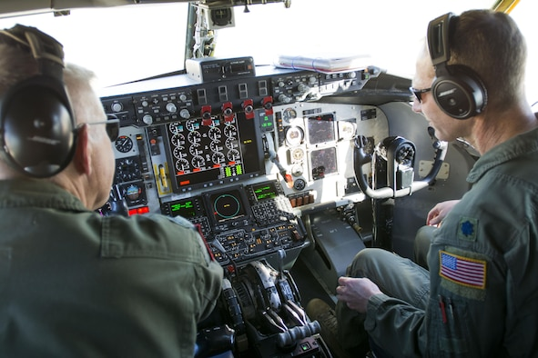 Lt. Col. Eric Wilks and Lt. Col. Marvin Ashbaker, pilots with the 465th Air Refueling Squadron, conduct pre-flight checks aboard the Air Force Reserve Command's first KC-135 to be upgraded with Block 45 May 5, 2016, at Tinker Air Force Base, Okla. Block 45 provides a digital display of engine controls, an updated autopilot, a new altimeter and software upgrades, ensuring that the KC-135 can perform well into the future as the workhorse of the air refueling fleet. (U.S. Air Force photo/Tech. Sgt. Lauren Gleason)