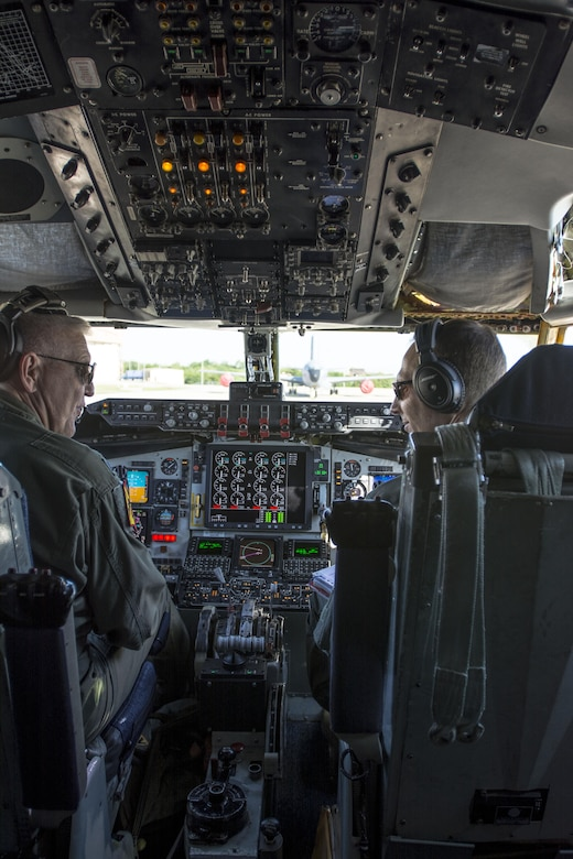 Lt. Col. Eric Wilks and Lt. Col. Marvin Ashbaker, pilots with the 465th Air Refueling Squadron, conduct pre-flight checks aboard the Air Force Reserve Command's first KC-135 to be upgraded with Block 45 May 5, 2016, at Tinker Air Force Base, Okla. The $910 million dollar modification program has upgraded 29 aircraft to date. (U.S. Air Force photo/Tech. Sgt. Lauren Gleason)