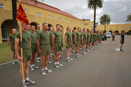 Marines with Kilo Company, 3rd Recruit Training Battalion, prepare to begin their motivation run at Marine Corps Recruit Depot San Diego, May 5.  Upon completion of the run, the Marines will spend the afternoon with their family, friends and loved ones during an on-base liberty.  Kilo Company graduated May 6.