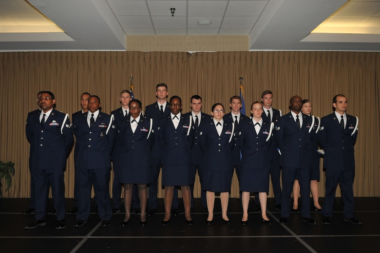 The students of Airman Leadership School Class 16-E graduated May 5, 2016 at the Northern Lights Club on Grand Forks Air Force Base, North Dakota. ALS students learn fundamental supervisory skills over a period of six weeks, including drafting Air Force correspondence, conducting mock counseling sessions, and more. (U.S. Air Force photo/Staff Sgt. Susan L. Davis)