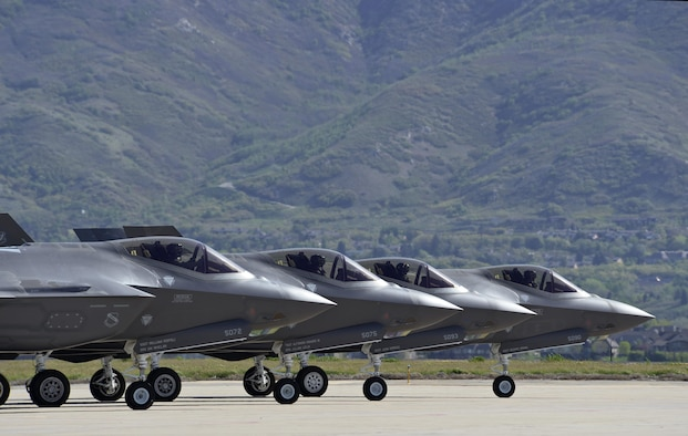 Four F-35 Lightning II aircraft prepare for takeoff at Hill Air Force Base, Utah, May 4. Hill's active duty and Reserve F-35 pilots recently began flying routine four-ship configurations, just as they would in combat. This marks a key milestone in getting the Air Force's newest fighter jet to reach Initial Operational Capability later this year, at which time it will be combat-ready. (U.S. Air Force photo by Paul Holcomb)