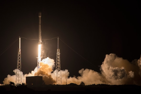 The U.S. Air Force's 45th Space Wing supported the successful SpaceX Falcon 9 JCSAT-14 launch May 6 at 1:21 a.m. EDT from Launch Complex 40 here. JCSAT-14 is a communications satellite designed and manufactured by Space Systems/Loral for SKY Perfect JSAT Corporation based in Tokyo, Japan.  The satellite is designed to provide TV programming and broadband services in Japan, Asia, Oceania, Russia and the Pacific region for at least 15 years, replacing an older satellite called JCSAT-2A. (Courtesy photo by SpaceX)