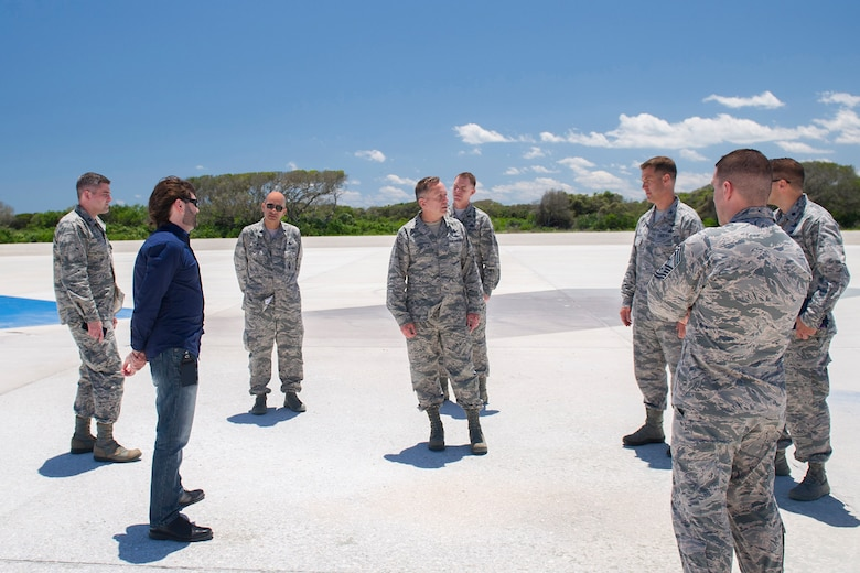 Lt. Gen. David J. Buck, commander, 14th Air Force (Air Forces Strategic), Air Force Space Command; and commander, Joint Functional Component Command for Space, U.S. Strategic Command, looks around SpaceX's landing zone 1 during a tour of Cape Canaveral Air Force Station May 5, 2016. Buck and Chief Master Sgt. Craig Neri, 14th AF command chief and command senior enlisted leader for JFCC Space, visited Patrick Air Force Base and Cape Canaveral Air Force Station May 4 and 5 and gained insight into the contributions Airmen across the wing make to keep the 45th Space Wing the World's Premier Gateway to Space. (U.S. Air Force photo by Matthew Jurgens/Released)