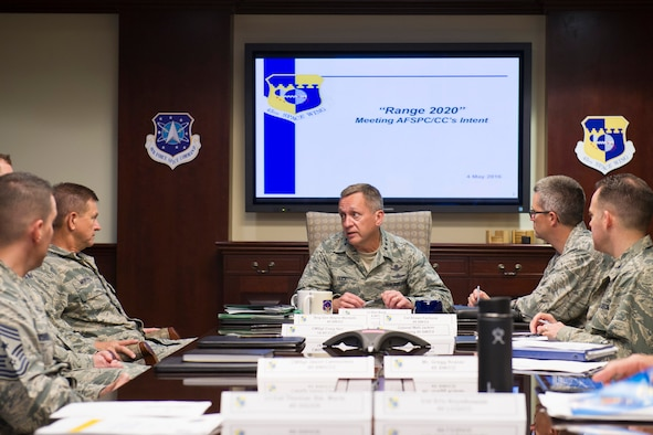 Lt. Gen. David J. Buck, commander, 14th Air Force (Air Forces Strategic), Air Force Space Command; and commander, Joint Functional Component Command for Space, U.S. Strategic Command, gives a brief on the Launch Range Enterprise May 4, 2016, at Patrick Air Force Base, Florida. Buck and Chief Master Sgt. Craig Neri, 14th AF command chief and command senior enlisted leader for JFCC Space, visited Patrick Air Force Base and Cape Canaveral Air Force Station May 4 and 5 and gained insight into the contributions Airmen across the wing make to keep the 45th Space Wing the World's Premier Gateway to Space. (U.S. Air Force photo by Matthew Jurgens/Released)