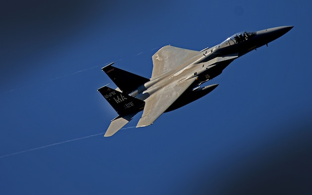 A U.S. F-15C Eagle soars above Amari Air Base, Estonia, in support of exercise Spring Storm May 4, 2016. The 131st Expeditionary Fighter Squadron will fly with the Estonian Defense Force and Polish air force to improve allied air operations and interoperability in a realistic training environment. (U.S. Air Force photo by Tech. Sgt. Matthew Plew/Released)