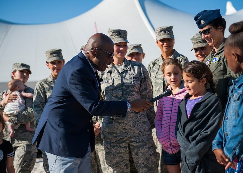 The Today Show's Al Roker interacts with base children during a live TV Mother's Day segment during the 96th Force Support Squadron's Mission Breakfast May 4 at Eglin Air Force Base, Fla. (U.S. Air Force photo/Ilka Cole)