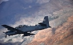 An Afghan air force A-29 Super Tucano aircraft flies over Afghanistan during a training mission, April 6, 2016. NATO Train, Advise, Assist Command-Air works daily to assist the Afghan air force in improving its capabilities. (Air Force photo by Capt. Eydie Sakura)