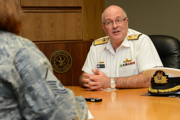 Royal Australian Navy Commodore David Greaves, Australian Chief Information Officer Group strategic communications branch commander, answers questions during an interview at U.S. Strategic Command (USSTRATCOM) Headquarters, Offutt Air Force Base, Neb., May 6, 2016. While here, Greaves held discussions with senior leaders and subject matter experts from USSTRATCOM's command, control, communications, and computers (C4) directorate, on the status of current satellite communications agreements between Australia and the U.S., as well as future arrangements. The visit is part of USSTRATCOM'S ongoing effort to build, sustain and support partnerships with allied nations. One of nine DoD unified combatant commands, USSTRATCOM has global strategic missions, assigned through the Unified Command Plan, which include strategic deterrence; space operations; cyberspace operations; joint electronic warfare; global strike; missile defense; intelligence, surveillance and reconnaissance; combating weapons of mass destruction; and analysis and targeting. (U.S. Navy photo by Mass Communication Specialist 1st Class Byron C. Linder/Released)