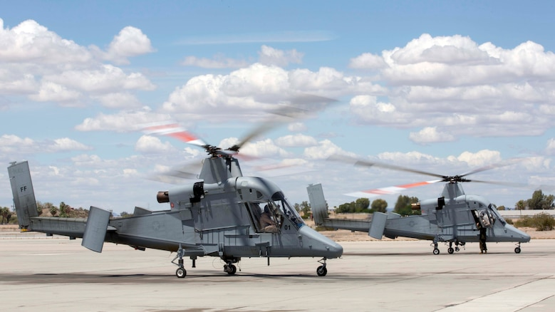 The Marine Corps' first two Kaman K-MAX Helicopters arrived at Marine Corps Air Station Yuma, Ariz., Saturday, May 7, 2016. The K-MAX will be added to MCAS Yuma's already vast collection of military air assets, and will utilize the station's ranges to strengthen training, testing and operations across the Marine Corps.