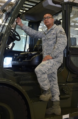 Tech. Sgt. Rolando Jose, 44th Aerial Port Squadron air transportation special handler, stands for a photo May 2, 2016, at Andersen Air Force Base, Guam. May is Asian American and Pacific Islander heritage month, dedicated to the contributions of Pacific islanders to the United States. (U.S. Air Force photo by Airman 1st Class Arielle Vasquez/Released)