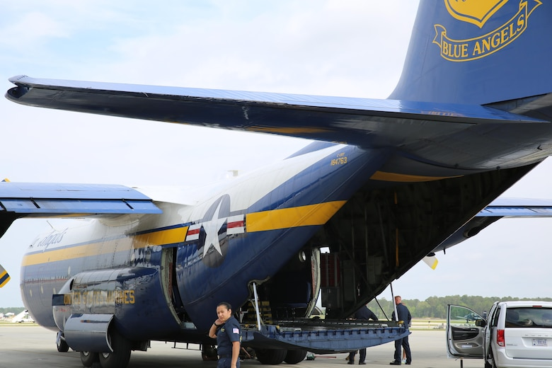 The U.S. Navy Blue Angels C-130J Super Hercules sits static on the flight line prior to the 2016 Marine Corps Air Station Cherry Point Air Show -- 
