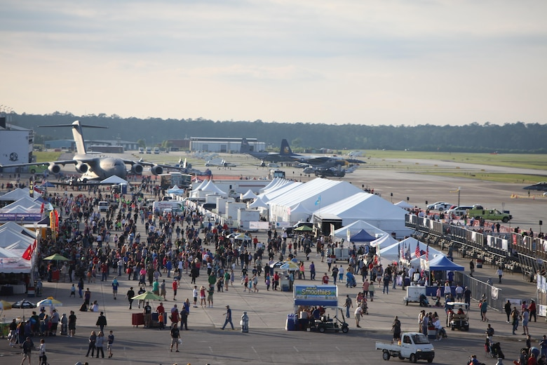 "Air show patrons watch aerial displays and explore static displays during the 2016 MCAS Cherry Point Air Show – ""Celebrating 75 Years"" at Marine Corps Air Station Cherry Point, N.C., April 29, 30 and May 1, 2016.