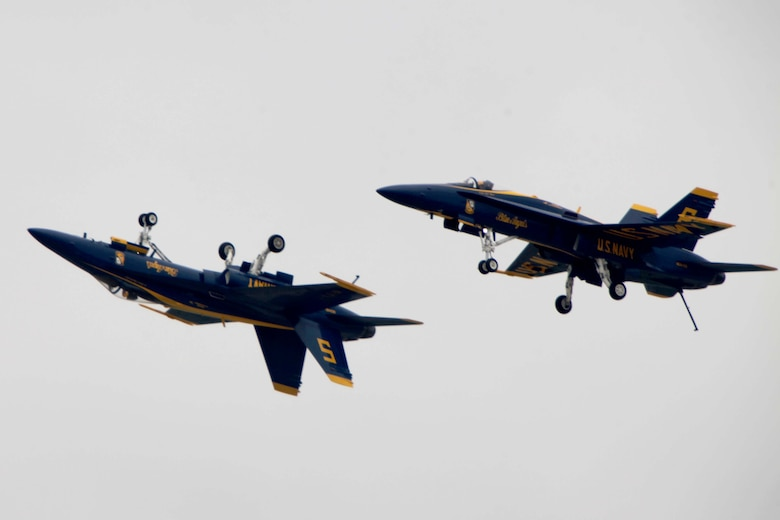 "The U.S. Navy Blue Angels perform at the 2016 MCAS Cherry Point Air Show – ""Celebrating 75 Years"" at Marine Corps Air Station Cherry Point, N.C., May 1, 2016. Blue Angels showcase the pride and professionalism of the Navy and the Marine Corps by inspiring a culture of excellence and service to country through flight demonstrations and community outreach. This year's air show celebrated MCAS Cherry Point and 2nd Marine Aircraft Wing's 75th anniversary and featured 40 static displays, 17 aerial performers, as well as a concert. (U.S. Marine Corps photo by Cpl. Jason R. Jimenez/Released)"