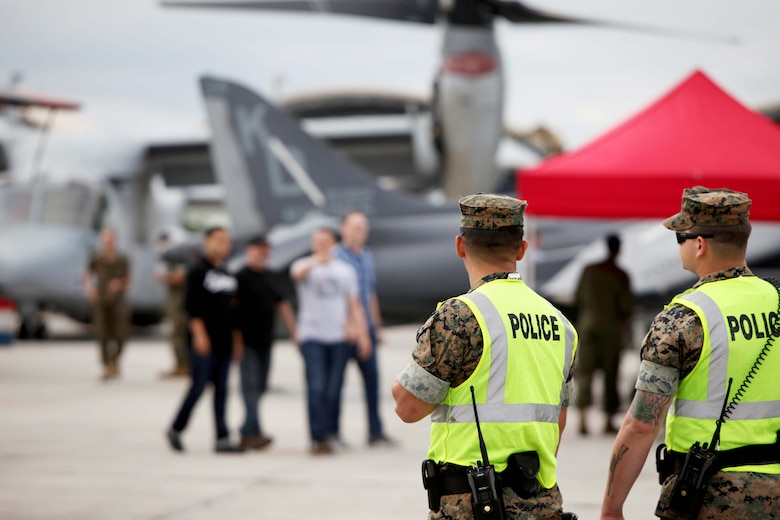 "Members of the Provost Marshal's Office  provide security at the 2016 MCAS Cherry Point Air Show – ""Celebrating 75 Years"" at Marine Corps Air Station Cherry Point, N.C., April 29,30 and May 1, 2016.