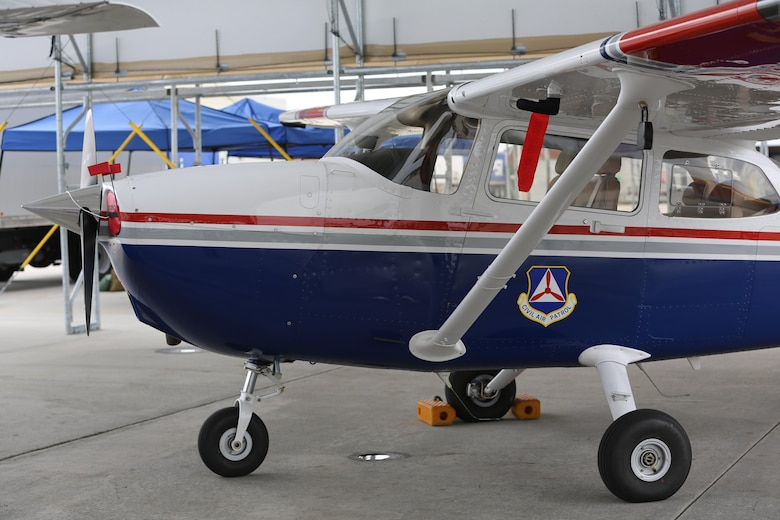 "A Civil Air Patrol Cessna 182 sits on display at the 2016 Marine Corps Air Station Cherry Point Air Show – ""Celebrating 75 Years"" at MCAS Cherry Point, N.C., April 29, 2016. On May 26, 1948, Congress passed Public Law 557 permanently establishing Civil Air Patrol as the auxiliary of the new U.S. Air Force.  Three primary mission areas were set forth at that time: aerospace education, cadet programs, and emergency services. (U.S. Marine Corps photo by Lance Cpl. Mackenzie Gibson/Released)"