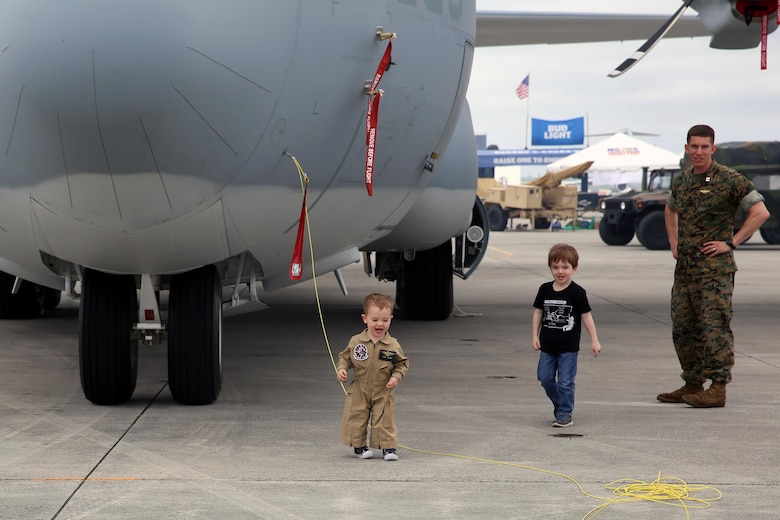 "Children play among the many static displays at the 2016 Marine Corps Air Station Cherry Point Air Show – ""Celebrating 75 Years"" at MCAS Cherry Point, N.C., April 29, 2016. This year's air show celebrated MCAS Cherry Point and 2nd Marine Aircraft Wing's 75th anniversaries and featured 40 static displays, 17 aerial performers and a concert. (U.S. Marine Corps photo by Lance Cpl. Mackenzie Gibson/ Released)"